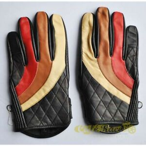 Gloves Flat Track Tri - Stripe 80'S Genuine Leather With Reinforced