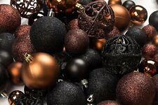 100 Brown And Black Christmas Ornament Balls Shatterproof