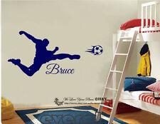Soccer Shooting Custom Personalised Boys Name Wall Stickers Decal Nursery Decor