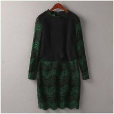 Women long sleeve wool blend knit lace dress color black/green size US XS new