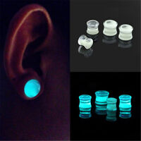Glow in the Dark Liquid Filled Ear Plugs Double Flared Saddle Ear Gauges NewES