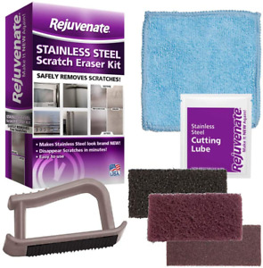 Stainless Steel Scratch Eraser Kit Cleaner Refrigerators Stoves Sinks Grills 6Pc