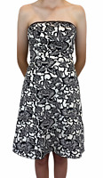 Backstage Womens Black/White Floral Strapless Lined Fit Flare Dress Size 10