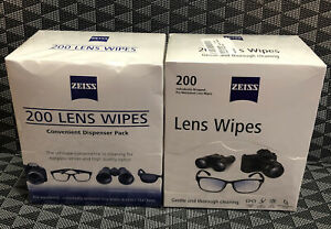 (2) Zeiss Pre-Moistened Lens Cloths Wipes 200 Ct - Glasses Camera Phone Cleaning