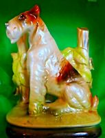 Vintage Glazed Ceramic Airedale Terrier Dog Sitting Fence figurine Rossinu Japan