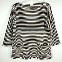 J. Jill Tunic Round Neck 3/4 Sleeve Pockets Textured Stripes Multicolor Womens M
