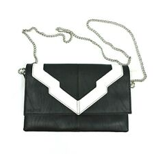 Miche Black White Art Deco Clutch Faux Leather Green Interior Chain Crossbody
