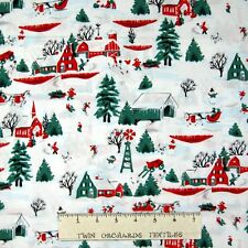 White Christmas Fabric - Patrick Lose Red & Green Village Scene - RJR YARD