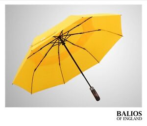 Bright Yellow Balios Umbrella Real Wood Double Canopy Auto Open&Close Windproof