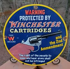 VINTAGE OLD WINCHESTER CARTRIDGES PORCELAIN ADVERTISING SIGN