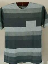 Shades of Grey Striped Pocket T-Shirt from Route 66  (Mens Medium)