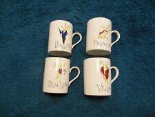 Pottery Barn 4 Coffee Cups Mugs Dasher Dancer Prancer Vixen Christmas