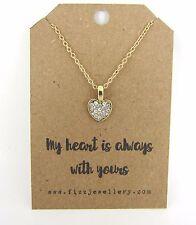 Il mio cuore è sempre con il tuo messaggio d'oro strass Collana Carta Regalo Nuovo