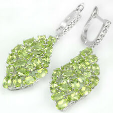 Sterling Silver 925 Large Genuine Natural Peridot Cluster Design Earrings