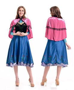Adults Frozen Princess Anna Fancy Dress Up Snow Queen Women + Cape Costume Lot