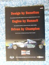 F1 BENETTON RENAULT CHAMPION  POSTER ADVERT READY FRAME A4 SIZE