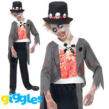 Boys Zombie Monster Groom Costume Dead Halloween Fancy Dress Outfit Scary