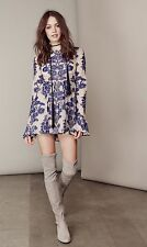 For Love and Lemons Temecula Embroidered Bell Sleeve Mini Dress in Navy, SZ S