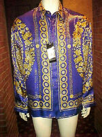 NWT RARE MEN METALLIC SATIN METALLIC SILK SHIRT BAROQUE GREEK BLUE & GOLD SLIM L