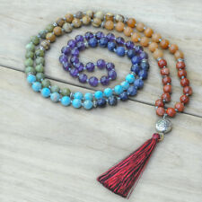 "44"" Long Natural Gemstone 108 Mala Beads Tassel Necklace Chakra, Knotted Sweater"