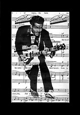 CHUCK BERRY Vintage Art Print Upcycled Music Sheet Antique & Rare