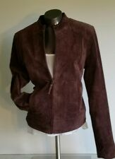Ruff Hewn Brown Suede Leather Jacket Large Full Zip Lined with Silky Orange Nice