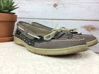 Sperry Women's Top Slider Size 9M Suede Leather Gray Boat Shoe Slip on Comfort