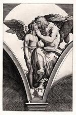 "Enchanting 1800s Raphael Etching ""Jupiter and Cupid"" DURAND Original FRAMED COA"