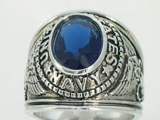 Blue Stone Men's Ring Size 9 12x10 mm United States Navy Military September
