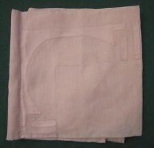 """Antique Linen Tablecloth Peachy Pink Geometric Appliques Hem Stitch 37"""" x 36"""""""