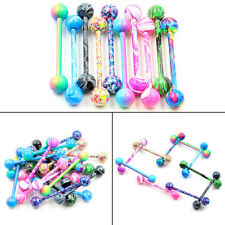 10PC Stainless Steel Ball Barbell Tongue Rings Nipple Piercing Body Jewelry Gift