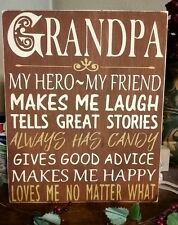 Primitive Sign Grandpa My Hero Subway Art Typography Wooden Sign Father's Day