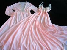 "Vintage Miss Elaine Long Lacy Nylon Peignoir Set 150"" Sweep S/M Gown + Robe"