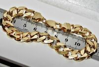 SOLID 9 CT YELLOW GOLD & SILVER 8.5 INCH HEAVY CURB BRACELET - MEN'S - CHUNKY
