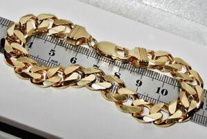 Massiver 9 Ct Gelb Gold & Silber 8.5 Zoll Schwere Panzerkette Armband-Herren-Grobstrick