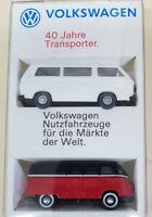 VW  WIKING SET 40 JAHRE TRANSPORTER VW BUS T1 MIT SILBERLEISTE UND T3 WEISS 1:87