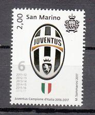 FRANCOBOLLO NUOVO SAN MARINO Juventus CAMPIONE D'ITALIA  2016 - 2017 6° SCUDETTO