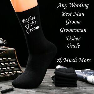 Wedding Socks Personalised Men's Black Cotton Socks Father Of The Bride
