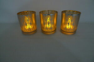 3 Gold/Silver Glass Flameless FLICKER CANDLES Battery Operated Christmas Decor