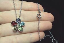 "Red purple blue multi color crystal Flower 925 silver plt pendant 18"" necklace"