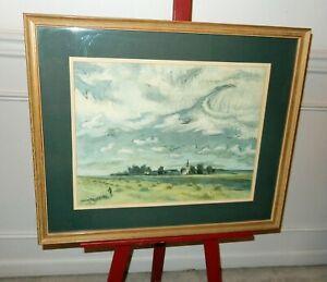 Vintage 1944 Mid Century Joe Jones Signed 27x22 Framed Landscape Serigraph