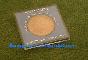 Silver Crown Coin  HER MAJESTY QUEEN ELIZABETH THE QUEEN MOTHER  80TH BIRTHDAY