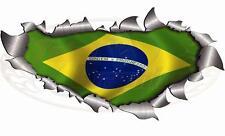 Taille unique métal 280mm ripopen déchiré Brésil Drapeau Autocollant Voiture Camion Van coupe du monde