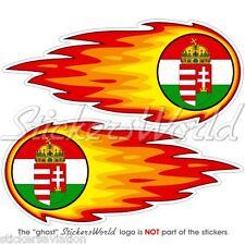 "Ungheria ungherese fireball-fire-flaming 125mm (5 "") bumper-helmet Adesivo Decalcomania x2"