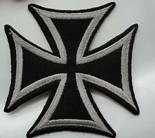 Embroidered GERMAN CROSS  iron/sew on patch appox size 8cmx8cm biker.