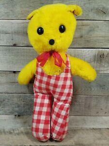 Vintage Toy Red White Yellow Plaid Teddy Bear Stuffed Animal Plush