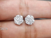 Deal Ladies Men's 10K Gold Real Diamond Round Cluster Stud Earrings 0.50ctw 6mm