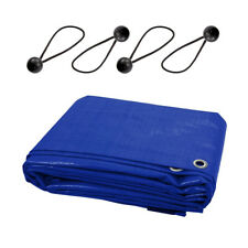 13 Sizes of Blue Tarpaulin Heavy Duty Waterproof Cover Sheet and 4 Bungee Balls