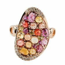 14k New Rose Gold Multi Colored Sapphire And Diamond Ring