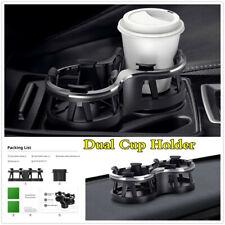 Universal Black ABS Car Dual Cup Holder Drink Bottle Frame Fixed Base Adjustable